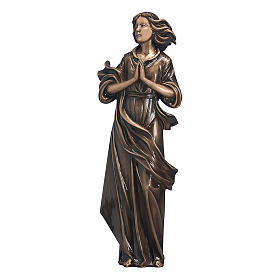 Statue of woman with joined hands in bronze 60 cm for EXTERNAL USE s1