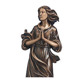 Statue of woman with joined hands in bronze 60 cm for EXTERNAL USE s2