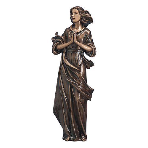 Statue of woman with joined hands in bronze 60 cm for EXTERNAL USE 1