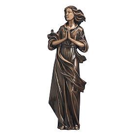 Statua donna mani giunte in bronzo 60 cm per ESTERNO s1
