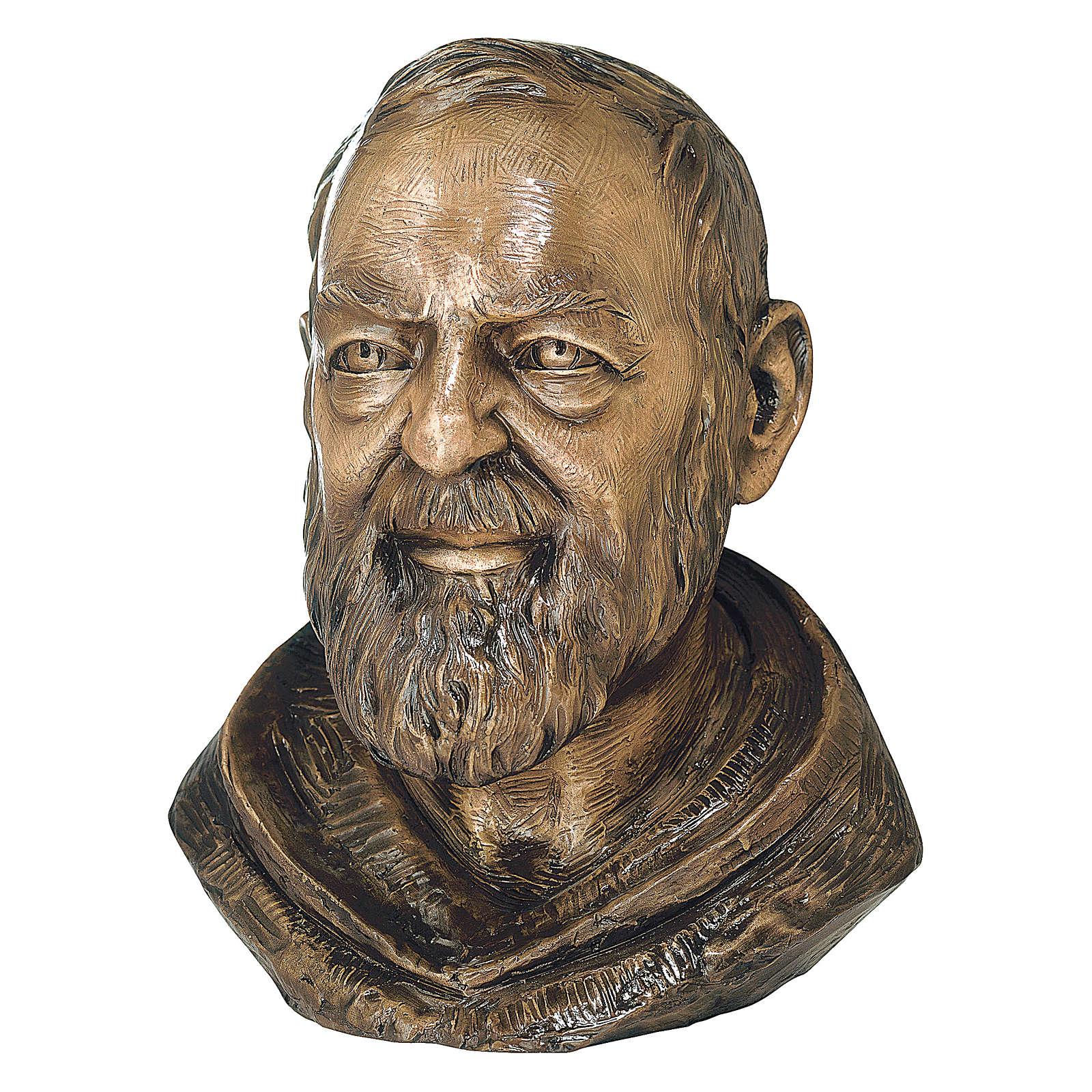 Bronzebüste Pater Pio 40 cm Höhe für den AUßENBEREICH 4