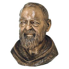 Buste Padre Pio bronze 42 cm pour EXTÉRIEUR s1