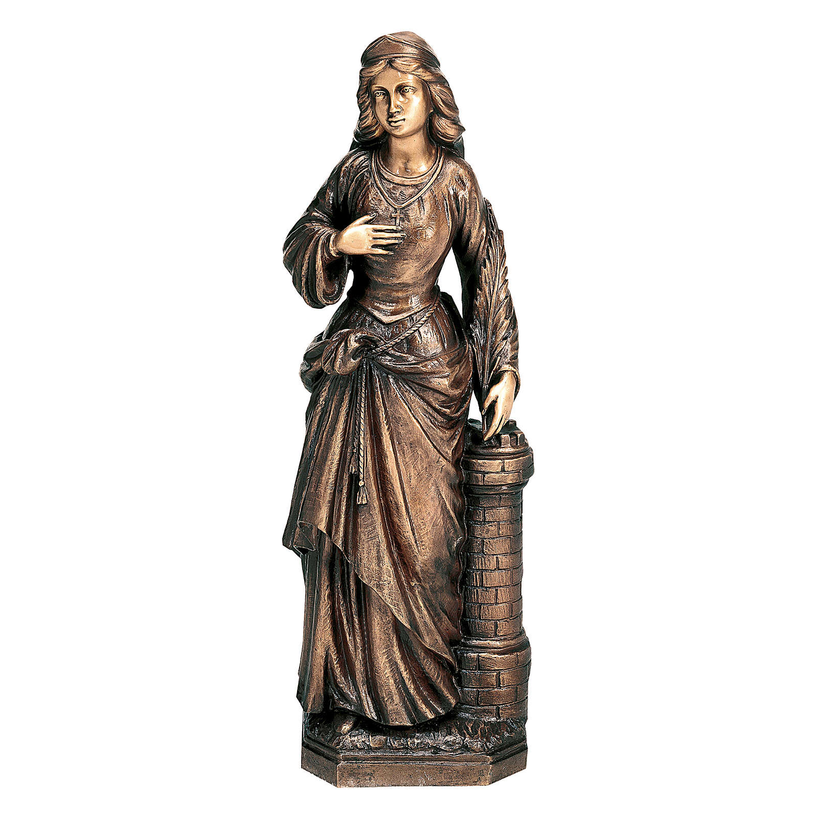 Statue of St. Barbara in bronze 75 cm for EXTERNAL USE 4