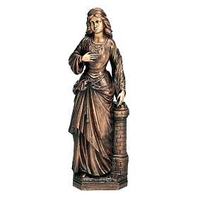 Statue of St. Barbara in bronze 75 cm for EXTERNAL USE s1