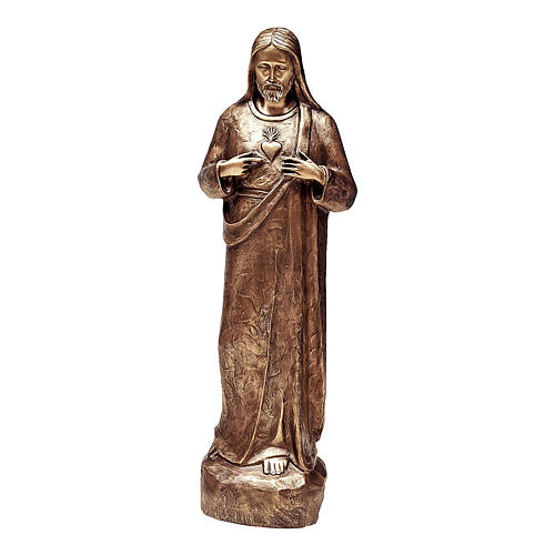 Statue of the Sacred Heart of Jesus in bronze 80 cm for EXTERNAL USE 1