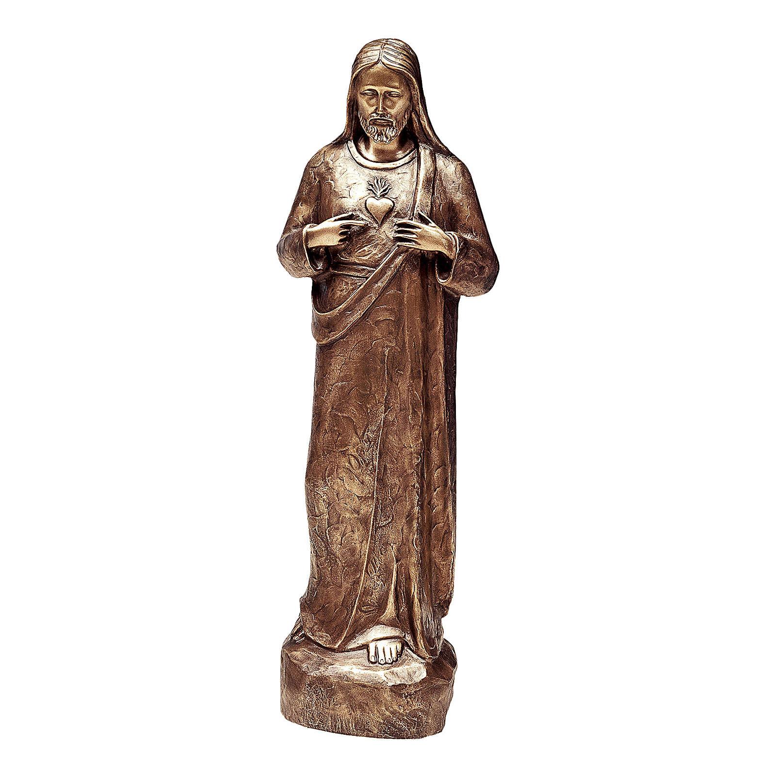 Statua bronzea Sacro cuore di Gesù 80 cm per ESTERNO 4