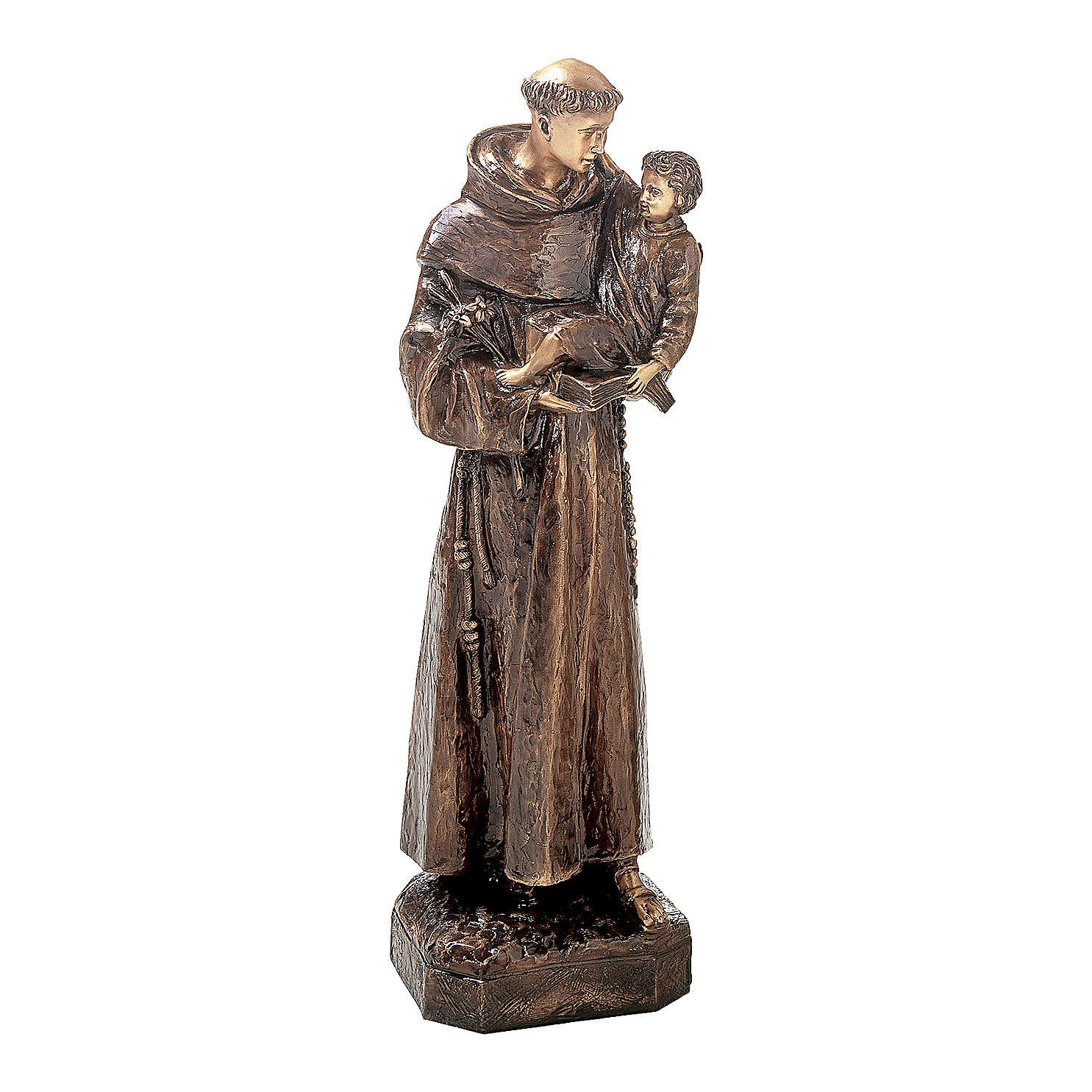 Statue of St. Anthony in bronze 80 cm for EXTERNAL USE 4