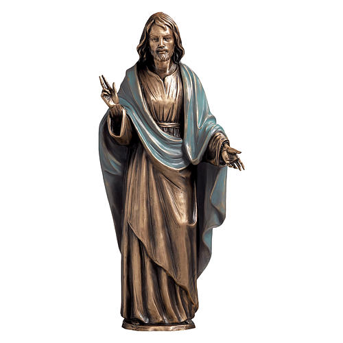 Statue of Christ the Saviour with light blue cape in bronze 60 cm for EXTERNAL USE 1