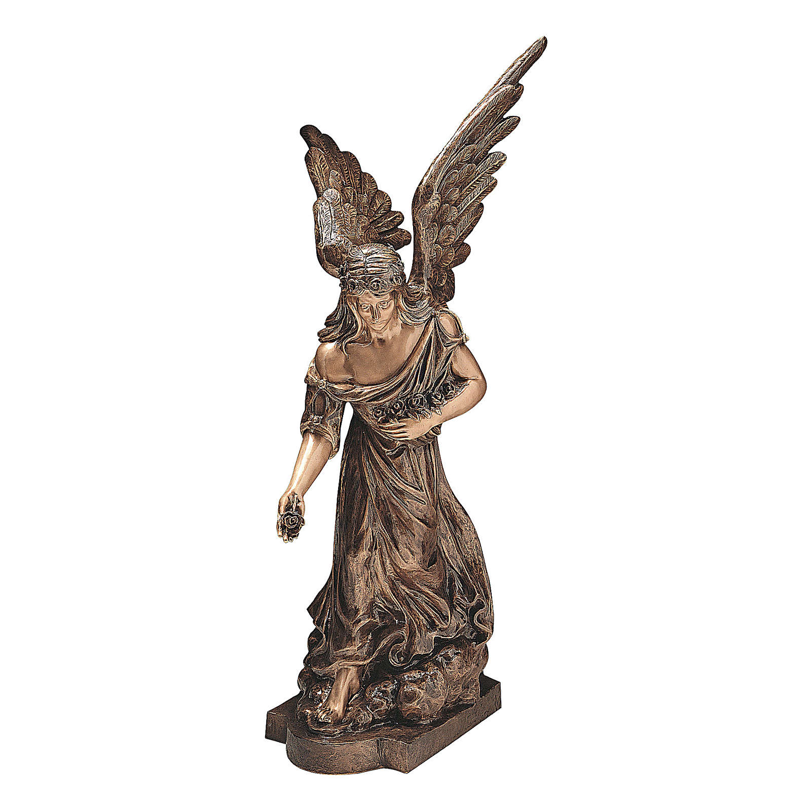 Sculpture of Angel spreading flowers in bronze 145 cm for EXTERNAL USE 4