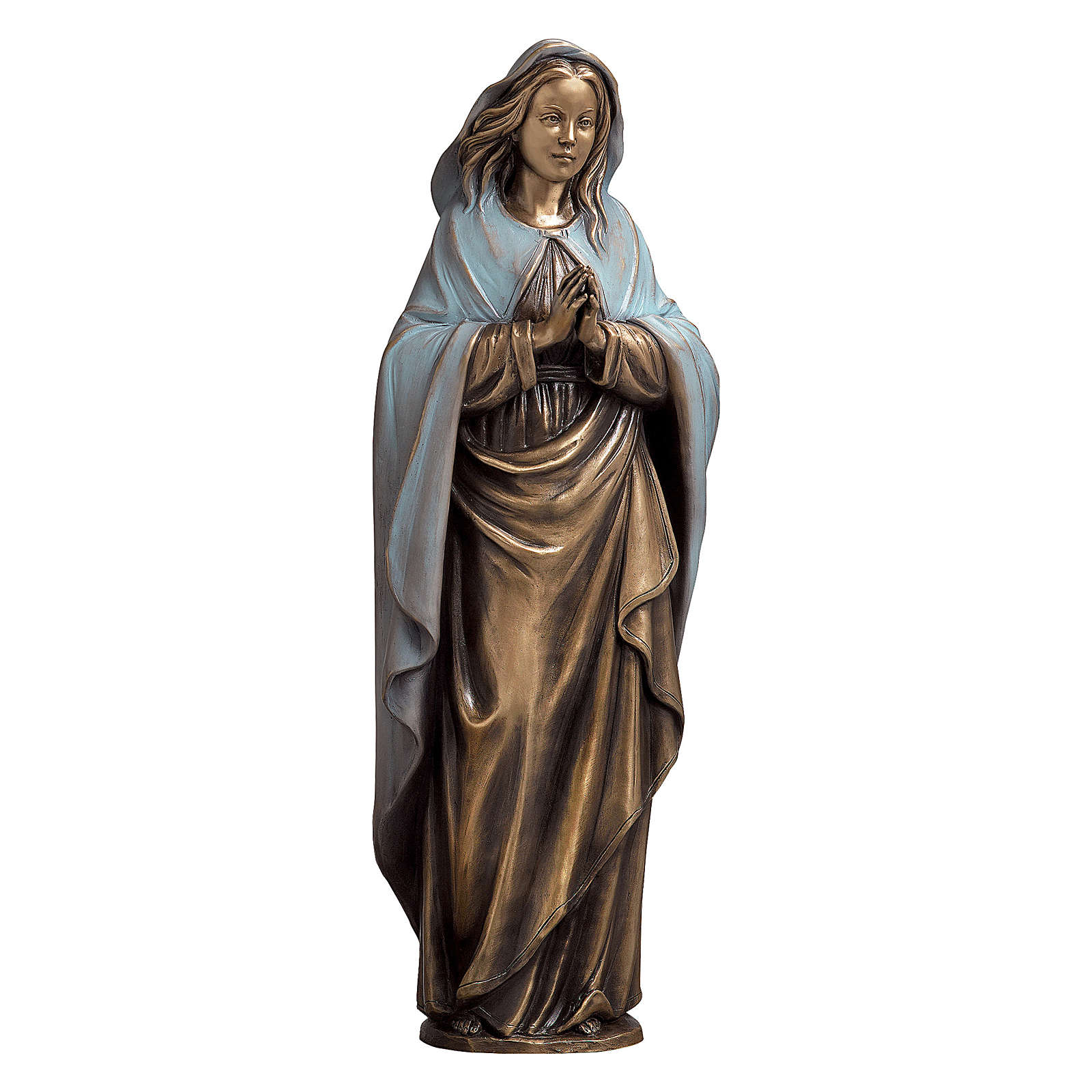 Statue of the Immaculate Virgin Mary with blue cape in bronze 65 cm for EXTERNAL USE 4