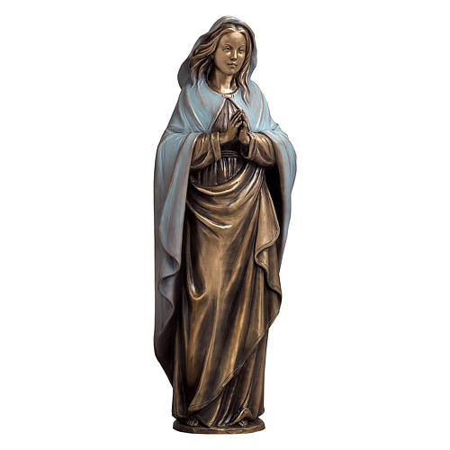 Statue of the Immaculate Virgin Mary with blue cape in bronze 65 cm for EXTERNAL USE 1