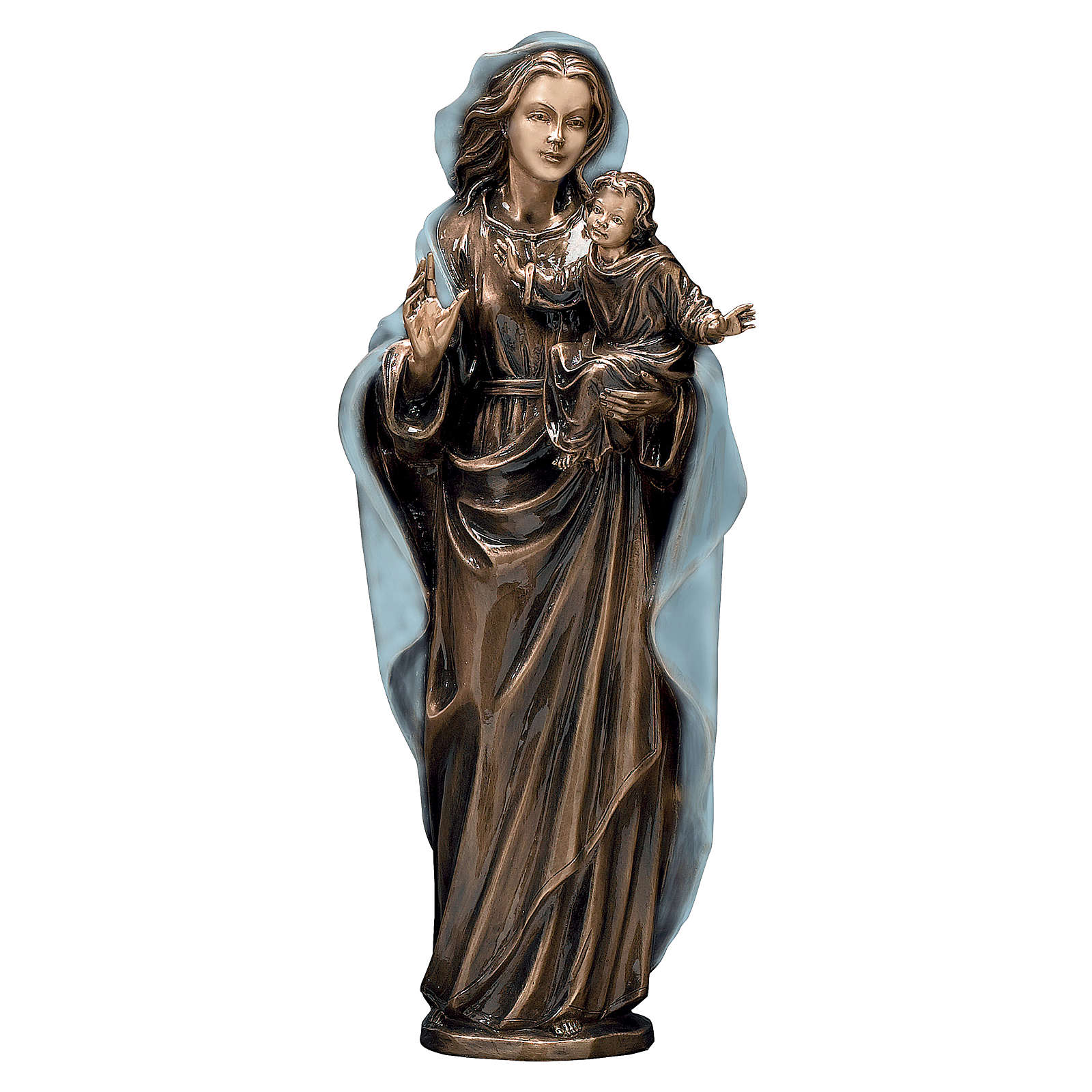 Bronze Madonna and Child Statue with Blue Mantle 65 cm for OUTDOORS 4