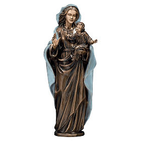 Bronze Madonna and Child Statue with Blue Mantle 65 cm for OUTDOORS s1