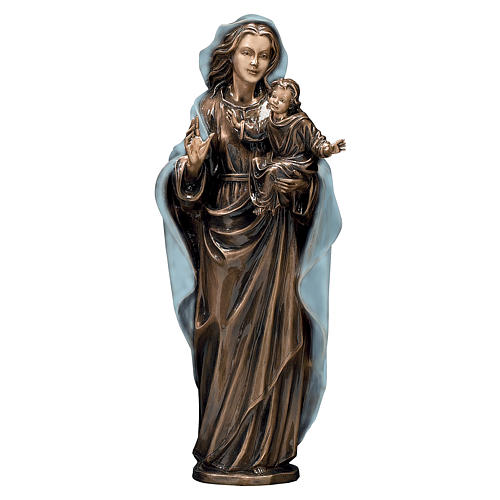 Bronze Madonna and Child Statue with Blue Mantle 65 cm for OUTDOORS 1