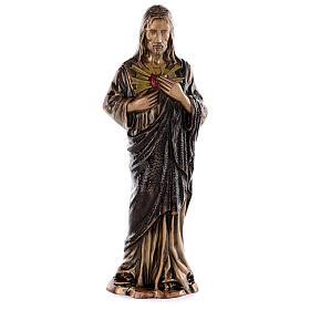 Sculpture Sacré-Coeur Jésus bronze 60 cm pour EXTÉRIEUR s1