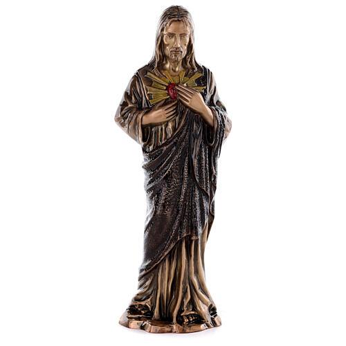 Imagem Sagrado Coração Jesus bronze 60 cm para EXTERIOR 1