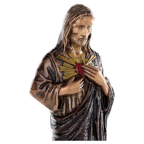 Imagem Sagrado Coração Jesus bronze 60 cm para EXTERIOR 4