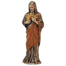 Colored Sacred Heart of Jesus Bronze Statue 60 cm for OUTDOORS s1