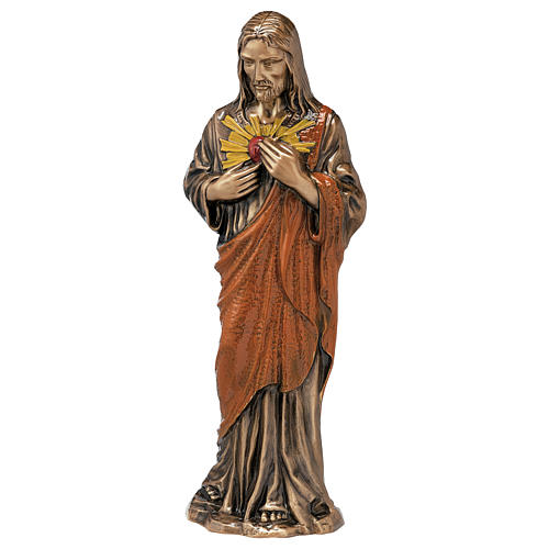 Colored Sacred Heart of Jesus Bronze Statue 60 cm for OUTDOORS 1