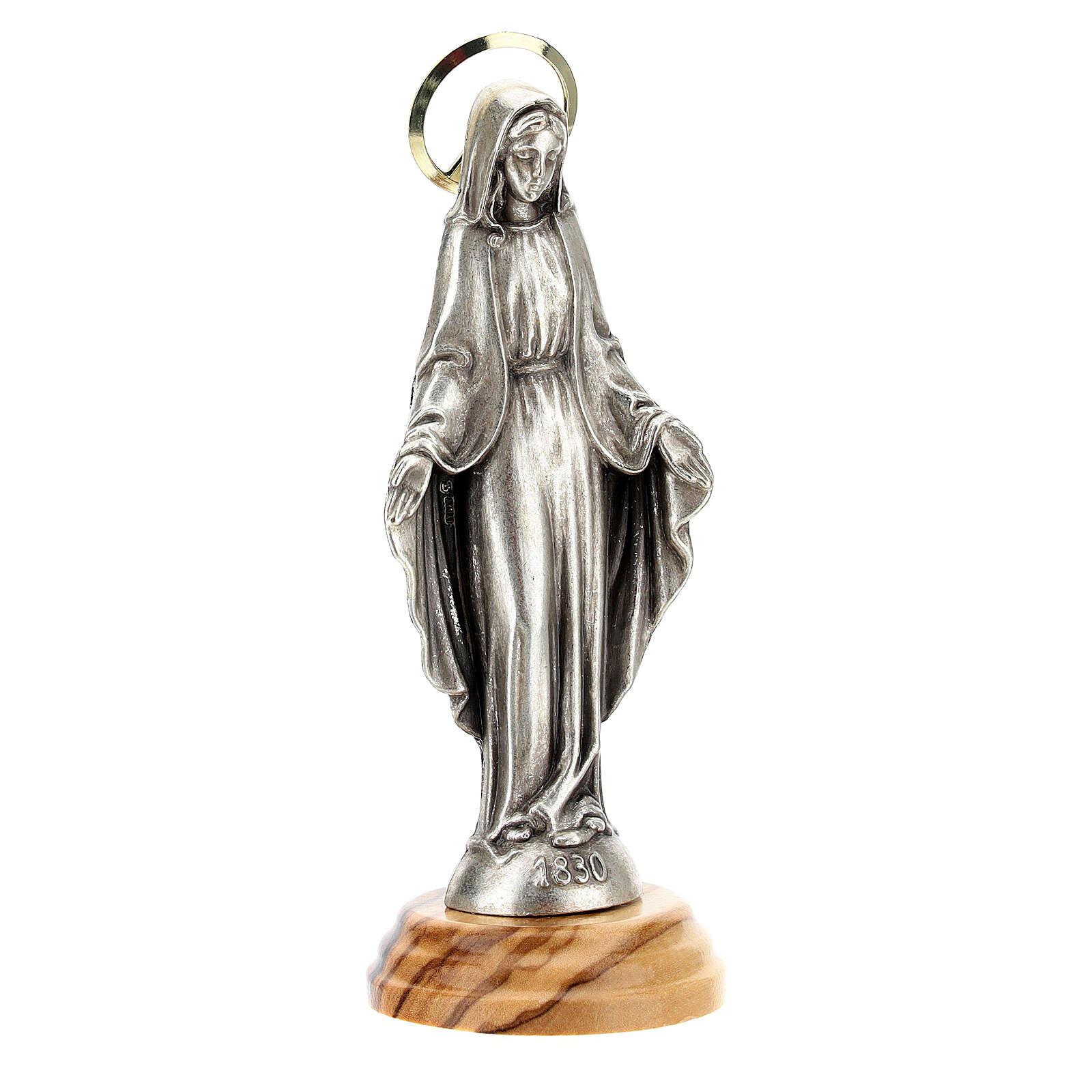 Estatua Virgen Milagrosa Madera olivo zamak 12 cm 4