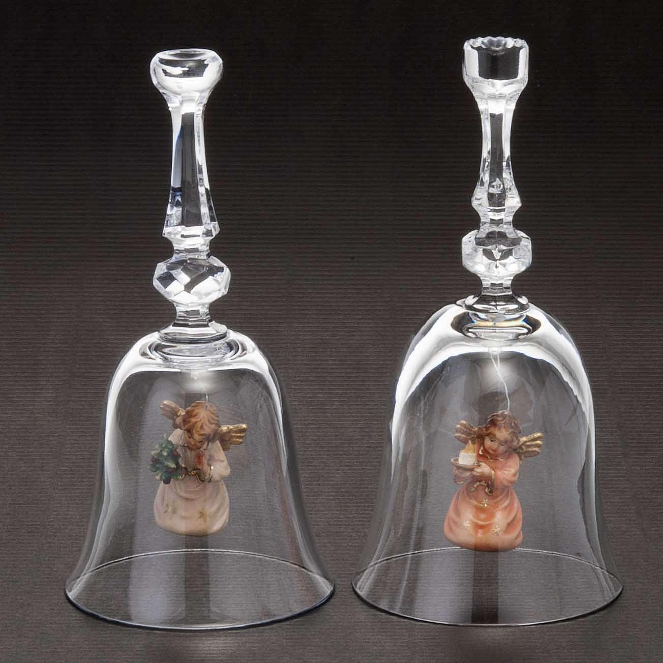 Clochette en cristal avec ange en bois 3