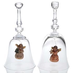 Clochette en cristal avec ange en bois s1
