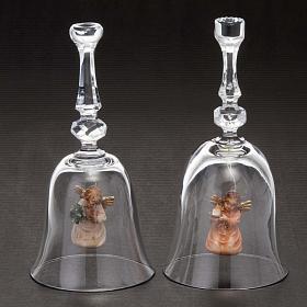 Clochette en cristal avec ange en bois s2