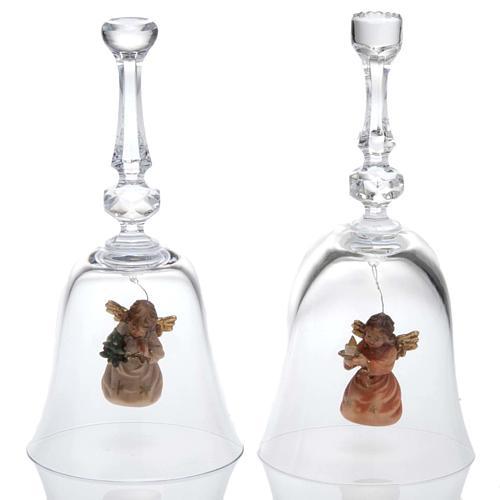 Clochette en cristal avec ange en bois 1