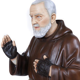Padre Pio 110 cm en fibra de vidrio s3