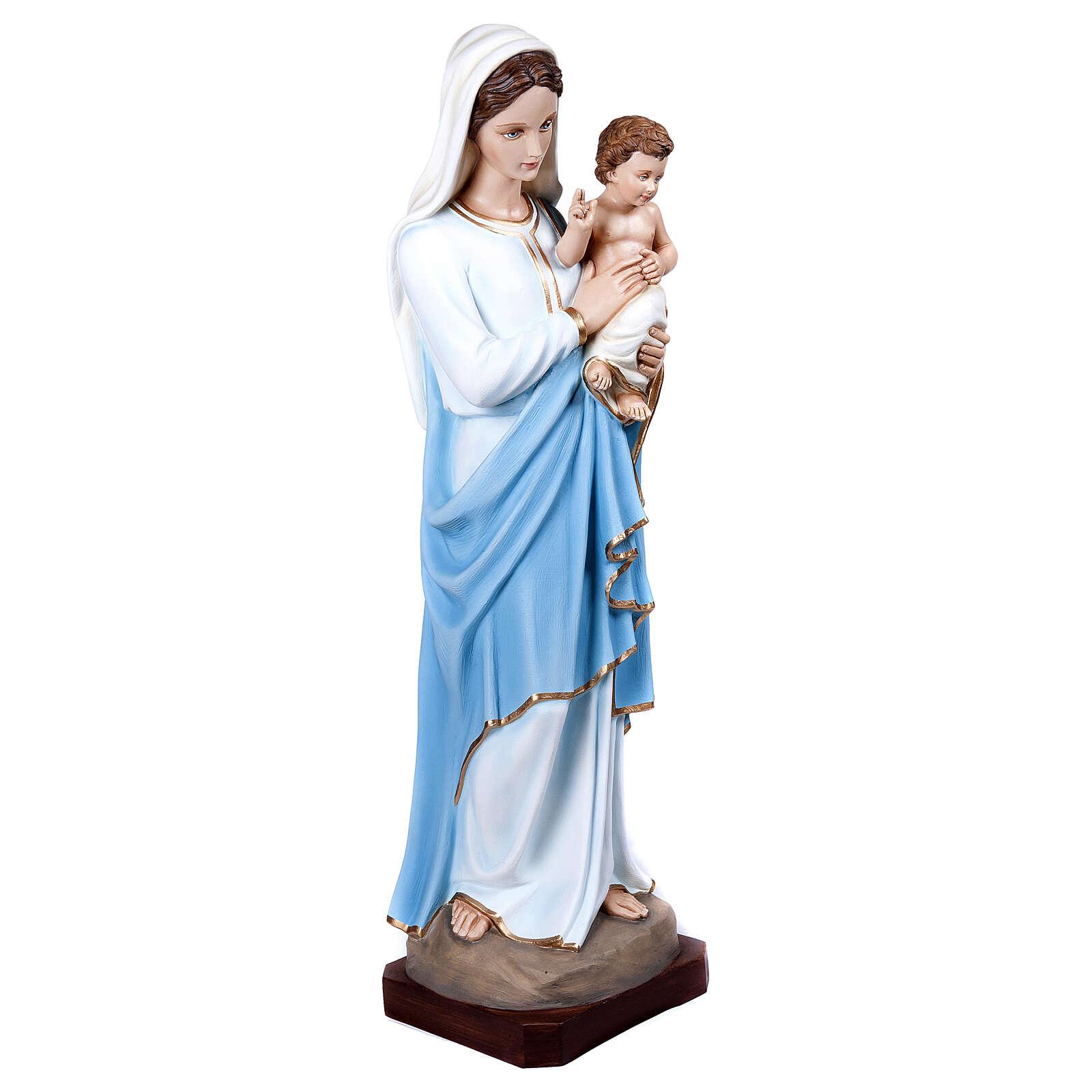 Virgen con el Niño 100 cm en fibra de vidrio 4