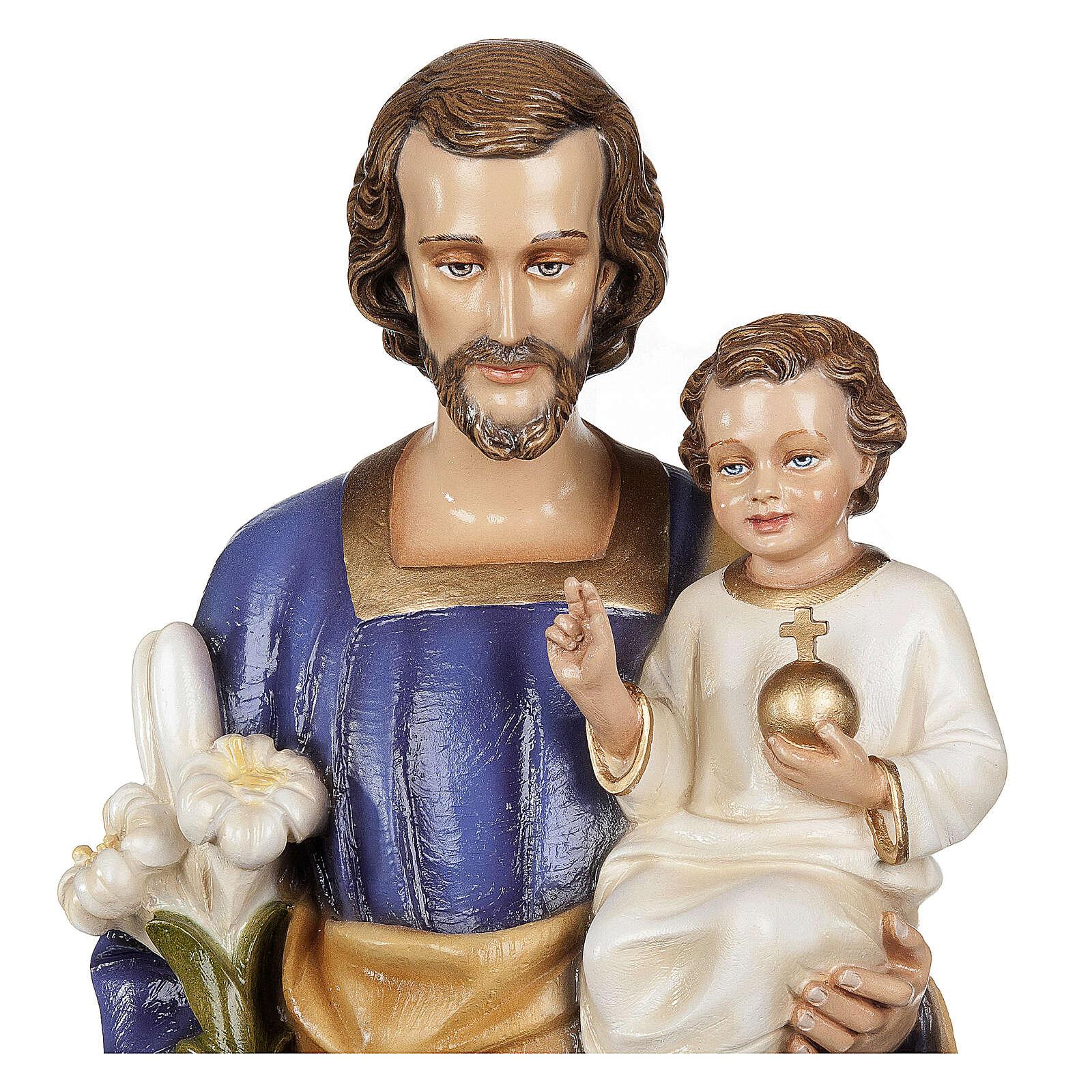 San Giuseppe con Bambino 80 cm fiberglass lucido PER ESTERNO 4
