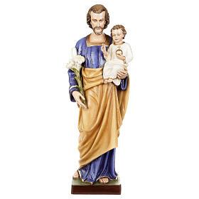 San Giuseppe con Bambino 80 cm fiberglass lucido PER ESTERNO