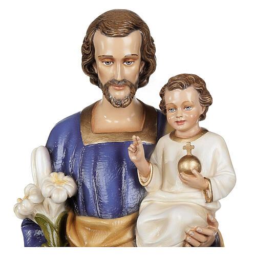 San Giuseppe con Bambino 80 cm fiberglass lucido PER ESTERNO 2