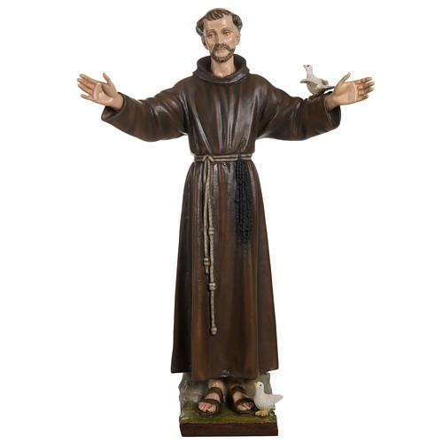 St François avec colombe fibre de verre 100 cm