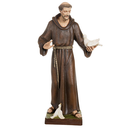 Statue St François avec colombe fibre de verre 80 cm