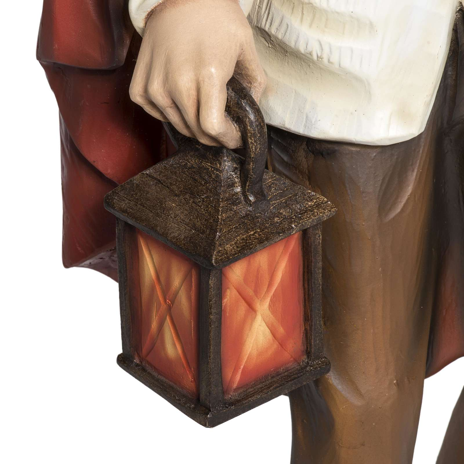 Pastore con lanterna e pane presepe 60 cm vetroresina 4