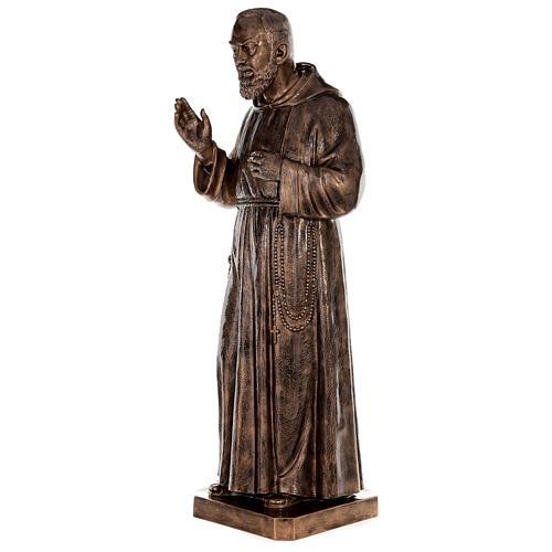 Statue Saint Pio fibre de verre patinée bronze 175 cm 3