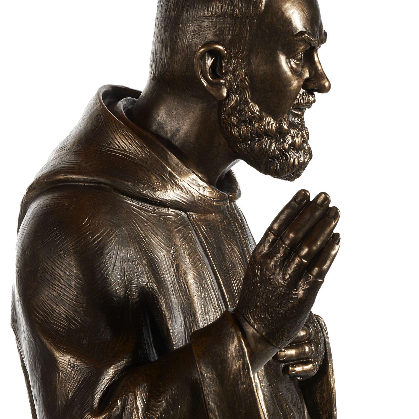 Saint Pio statue in fiberglass, bronze color 175 cm 4