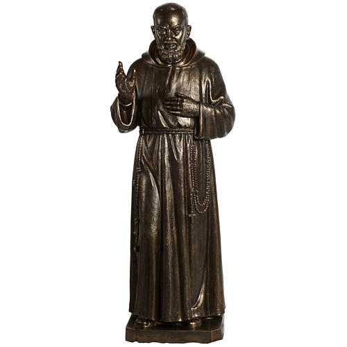 Saint Pio statue in fiberglass, bronze color 175 cm 1