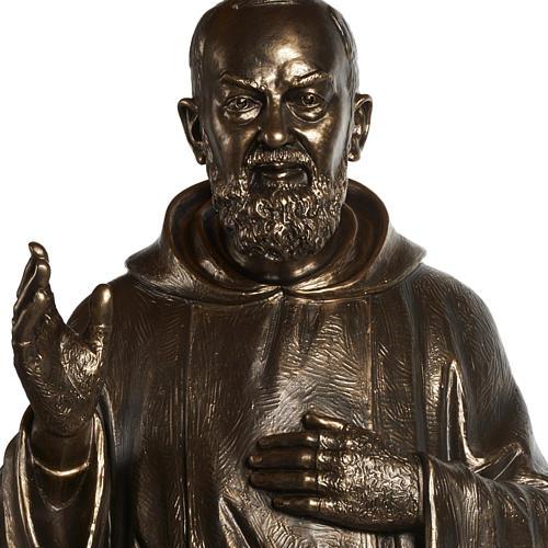 Saint Pio statue in fiberglass, bronze color 175 cm 10