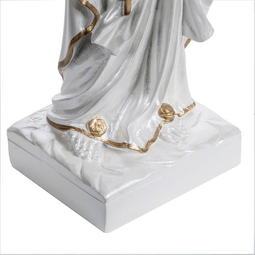 Madonna di Lourdes vetroresina madreperlata oro 60 cm 3