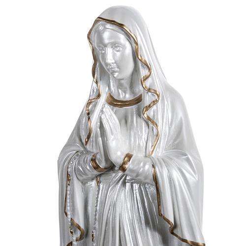 Madonna di Lourdes vetroresina madreperlata oro 60 cm 5