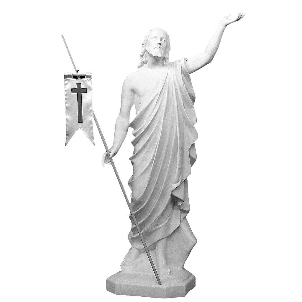 Christ ressuscité 130 cm fibre de verre blanche 4