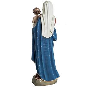 Vierge à l'enfant 60 cm fibre de verre veste rouge s7