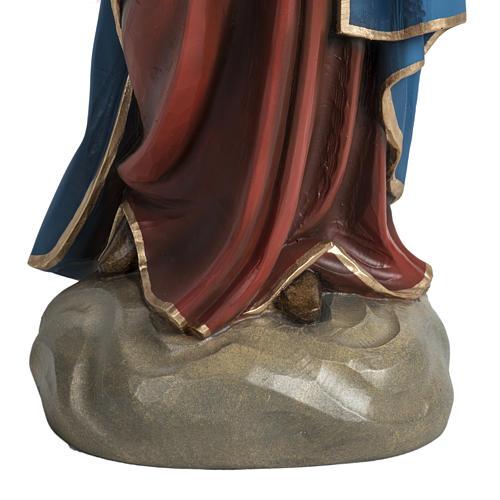Vierge à l'enfant 60 cm fibre de verre veste rouge 3