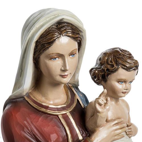 Vierge à l'enfant 60 cm fibre de verre veste rouge 4
