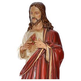 Sacro Cuore Gesù 130 cm vetroresina colorata per esterno s4