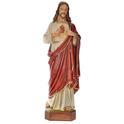 Sacro Cuore Gesù 130 cm vetroresina colorata per esterno 1