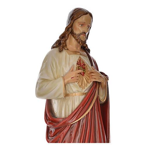 Sacro Cuore Gesù 130 cm vetroresina colorata per esterno 6
