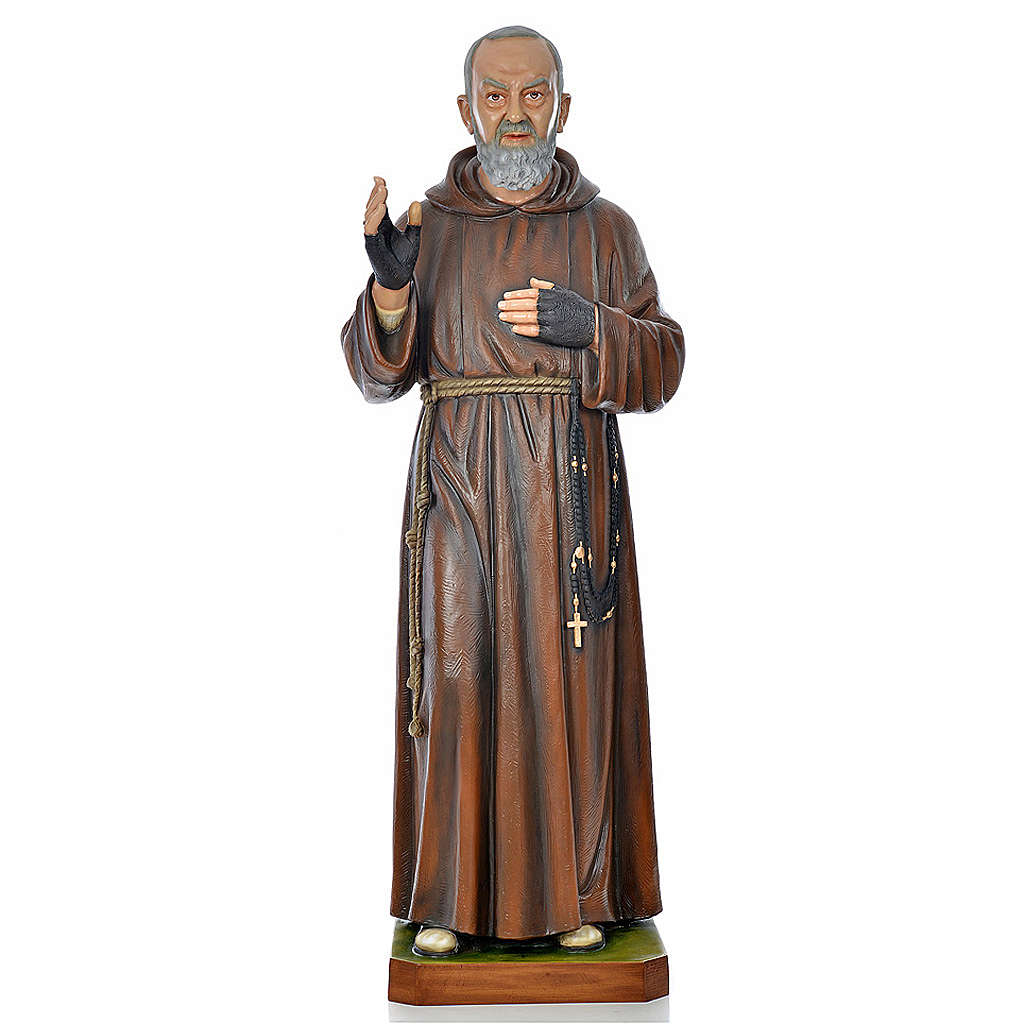 Père Pio en fibre de verre peinte 175 cm 4